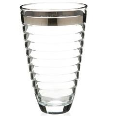 Vaso em Vidro Transparente Baguette Faixa Prata 30cm - Casa Etna