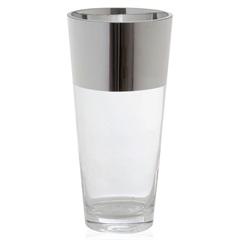 Vaso em Vidro Transparente City Pack Faixa Prata 25cm - Casa Etna