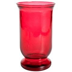 Vaso em Vidro Vermelho Flat 25cm - Casa Etna