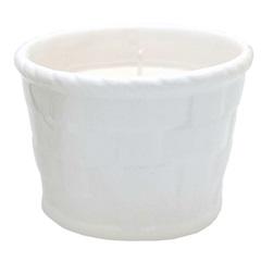 Vela em Vaso de Cerâmica Branco 8x6cm Sândalo - Botânica Velas