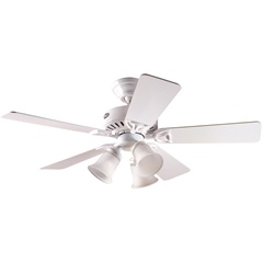 Ventilador de Teto com Luminária 63w 220v Beacon Hill com 5 Pás Branco - Hunter Fan