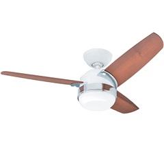Ventilador de Teto com Luminária 66w 220v Nova com 3 Pás Branco E Nogueira - Hunter Fan
