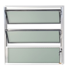 Vitrô Basculante com Vidro em Alumínio Master 60x60cm Brilhante - Brimak