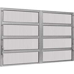 Vitrô Basculante de Alumínio 2 Seções Max Vidro Canelado 80x150cm - Ebel