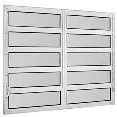 Vitrô Basculante em Alumínio Vidro Mini Boreal Una Branco 2 Seções 100x120cm       - Casanova