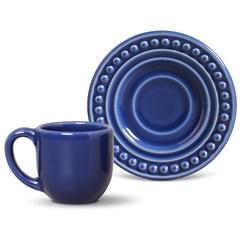 Xícara de Café com Pires em Cerâmica Atenas Azul Navy - Porto Brasil Cerâmica