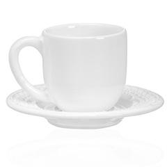 Xícara de Café com Pires em Cerâmica Madeleine 8cm Branca - Casa Etna