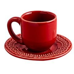 Xícara de Café com Pires Madeleine 5cm Vermelha - Casa Etna