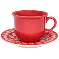 Xícara de Café Daily Floreal Renda com Pires 65ml Vermelha E Branco - Oxford