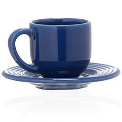 Xícara de Chá com Pires em Cerâmica Argos Azul - Casa Etna