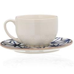 Xícara de Chá com Pires em Cerâmica Asanoha Colors Cru - Casa Etna