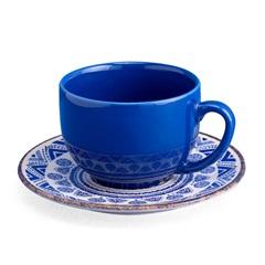 Xícara de Chá com Pires em Cerâmica Navajo Azul - Casa Etna