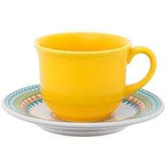 Xícara de Chá com Pires Floreal Bilro 200ml - Oxford