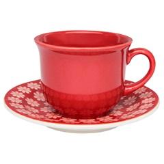 Xícara de Chá com Pires Floreal Renda 200ml - Oxford