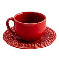 Xícara de Chá com Pires Madeleine 8cm Vermelha - Casa Etna