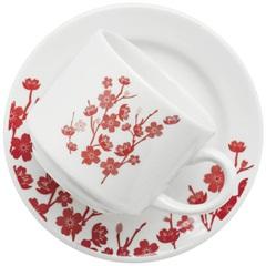 Xícara para Chá Donna Jardim Oriental com Pires 200ml Branca E Vermelha - Biona