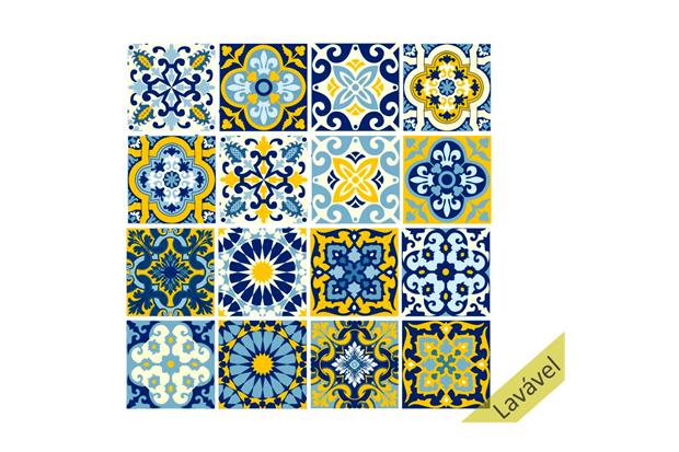 Adesivo para Azulejo Lisboa 15x15cm com 16 Peças Azul E Amarelo - Dona Cereja