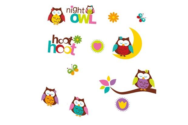 Adesivo para Parede Night Owl 50x70cm com 1 Peça - Evolux