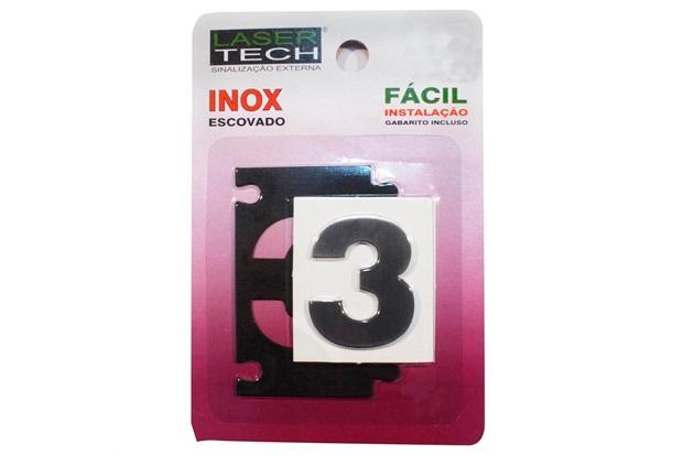 Algarismo Adesivo em Inox Número 3 Escovado 4cm - Display Show