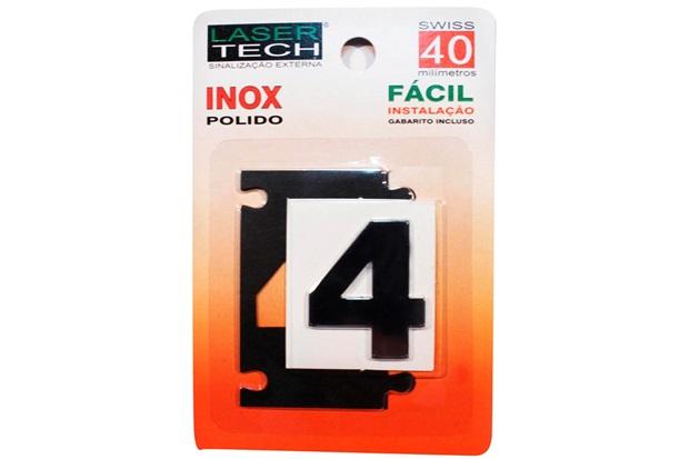 Algarismo Adesivo em Inox Número 4 Polido 4cm - Display Show