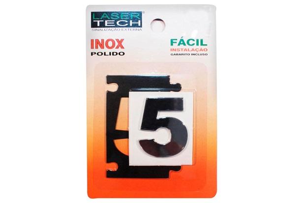 Algarismo Adesivo em Inox Número 5 Polido 4cm - Display Show
