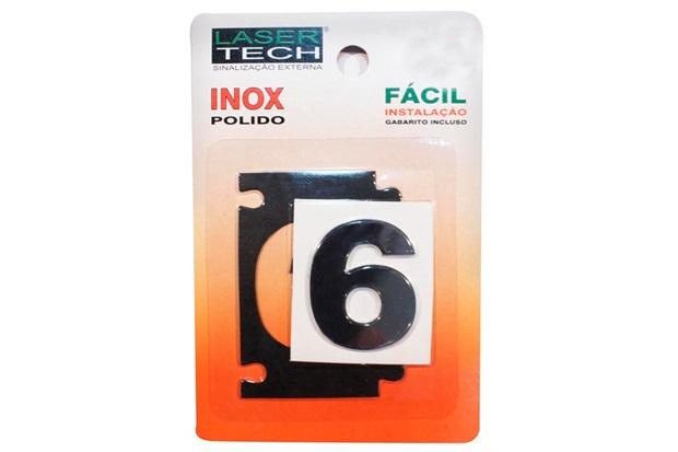 Algarismo Adesivo em Inox Número 6 Polido 4cm - Display Show