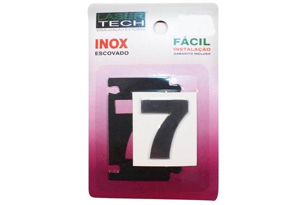 Algarismo Adesivo em Inox Número 7 Escovado 4cm - Display Show