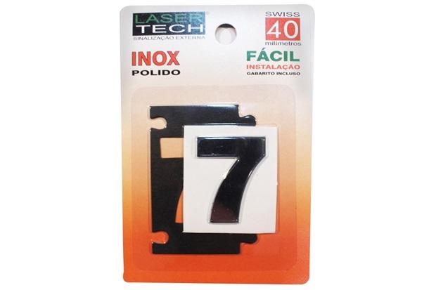 Algarismo Adesivo em Inox Número 7 Polido 4cm - Display Show