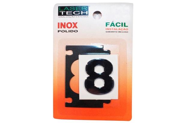 Algarismo Adesivo em Inox Número 8 Polido 4cm - Display Show