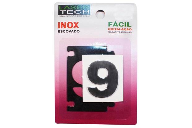Algarismo Adesivo em Inox Número 9 Escovado 4cm - Display Show