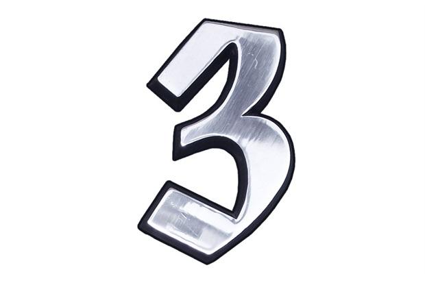 Algarismo Elegance Número 3 em Alumínio Polido 10cm - Costa Navarro