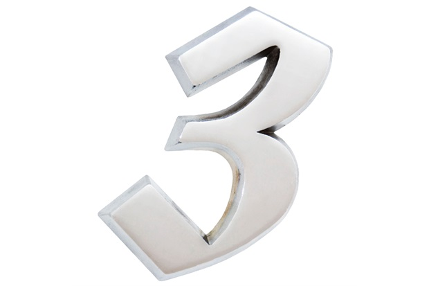 Algarismo Elegance Número 3 em Alumínio Polido 17,5cm - Costa Navarro