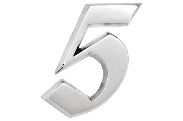 Algarismo Elegance Número 5 em Alumínio Polido 17,5cm - Costa Navarro