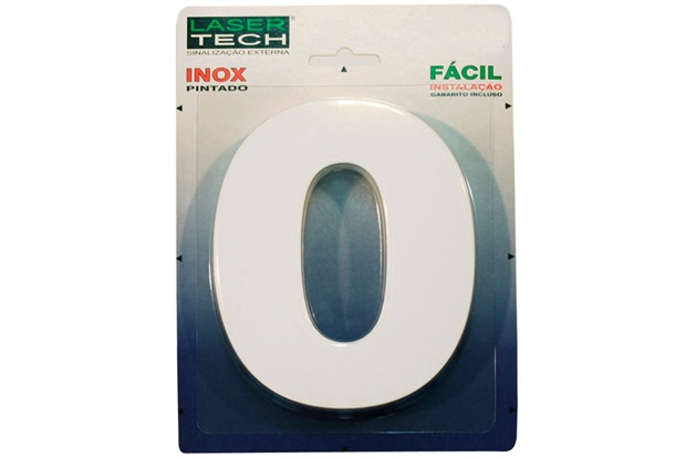 Algarismo em Inox Número 0 Branco 15cm - Display Show