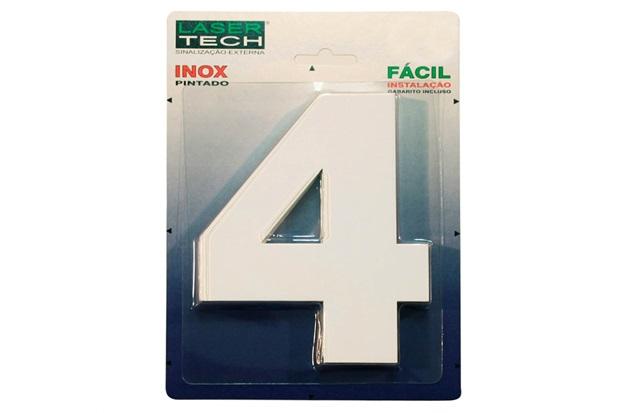 Algarismo em Inox Número 4 Branco 15cm - Display Show