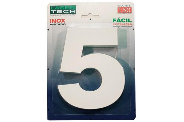 Algarismo em Inox Número 5 Branco 15cm - Display Show