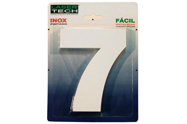 Algarismo em Inox Número 7 Branco 15cm - Display Show