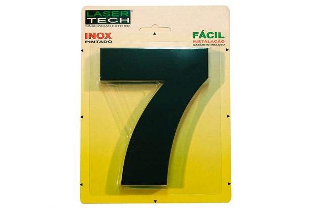 Algarismo em Inox Número 7 Preto 15cm - Display Show