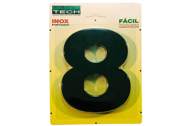 Algarismo em Inox Número 8 Preto 15cm - Display Show