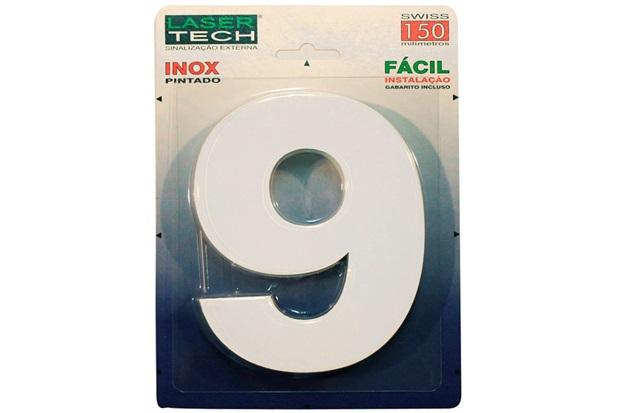 Algarismo em Inox Número 9 Branco 15cm - Display Show