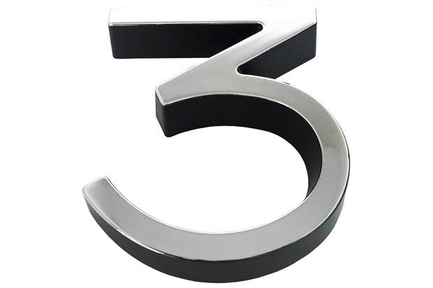 Algarismo em Plástico Número 3 Metalizado E Preto 8cm - Fixtil