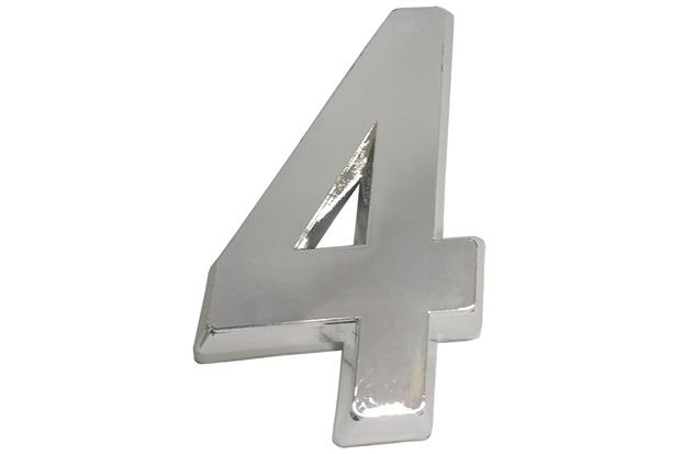 Algarismo em Plástico Número 4 Cromado - Fixtil