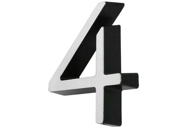 Algarismo em Plástico Número 4 Metalizado E Preto 4cm - Fixtil