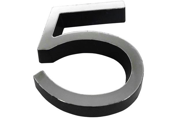 Algarismo em Plástico Número 5 Metalizado E Preto 8cm - Fixtil
