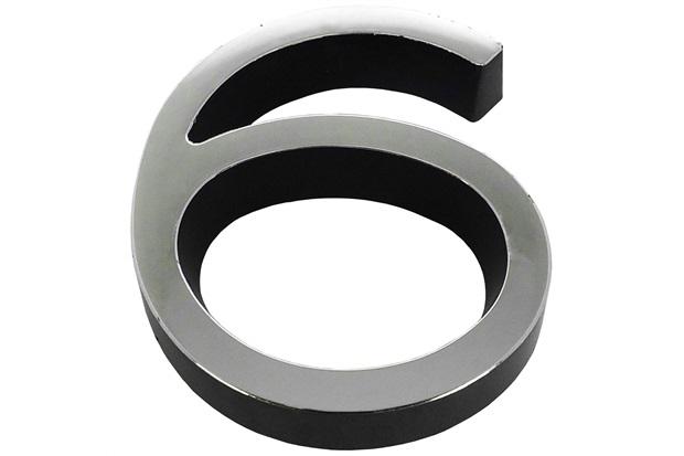 Algarismo em Plástico Número 6 Metalizado E Preto 8cm - Fixtil