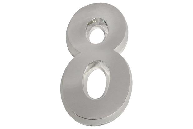 Algarismo em Plástico Número 8 Cromado - Fixtil