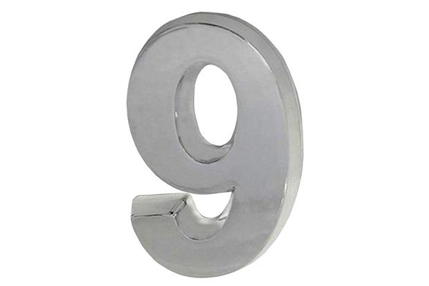 Algarismo em Plástico Número 9 Cromado - Fixtil