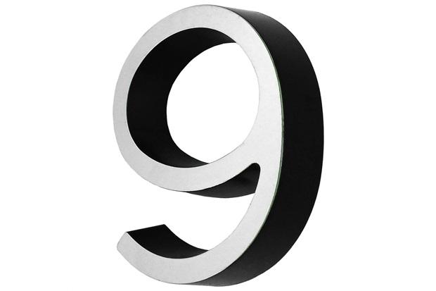 Algarismo em Plástico Número 9 Metalizado E Preto 4cm - Fixtil