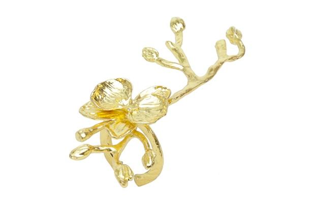 Anéis para Guardanapo em Zamac Tree Stick Dourado com 2 Peças - Bon Gourmet