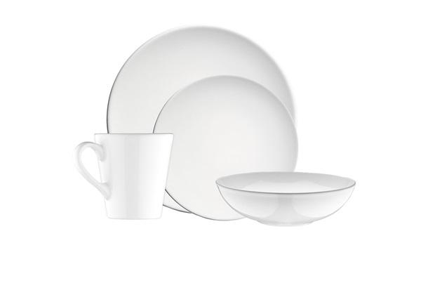 Aparelho de Jantar em Cerâmica 16 Peças Branco  - Casanova